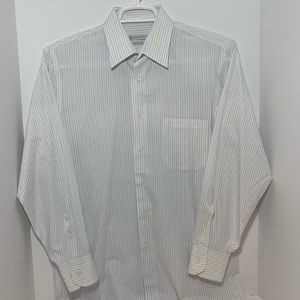 Geoffrey Beene White Striped Shirt Long Sleeve